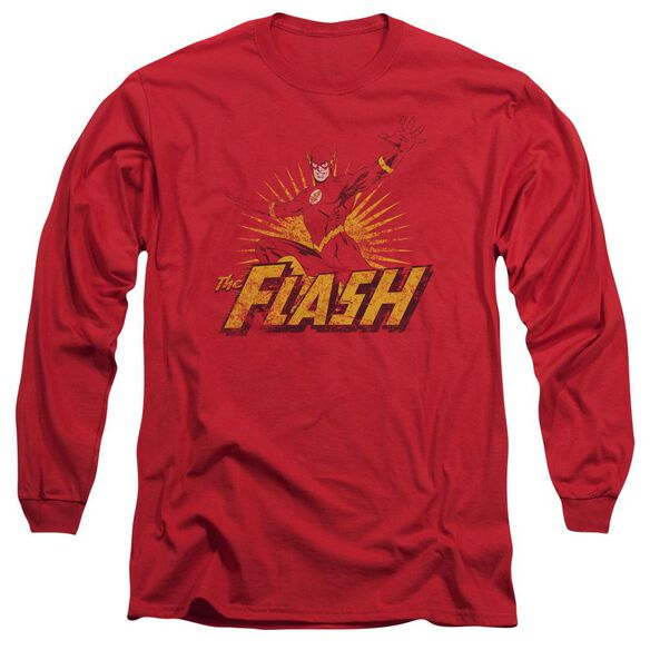 Jla Flash Rough Distress Long Sleeve Adult T-Shirt
