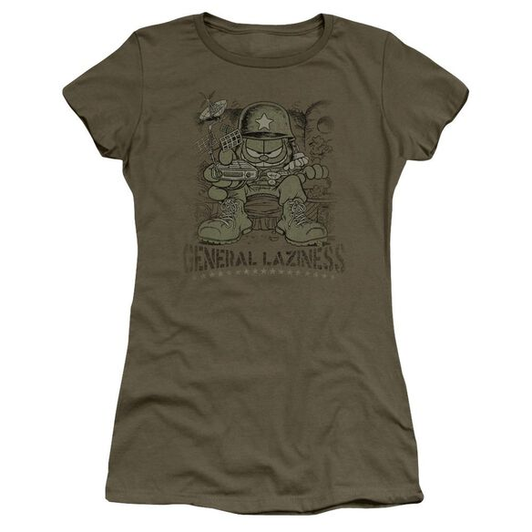 Garfield General Laziness Short Sleeve Junior Sheer Military T-Shirt