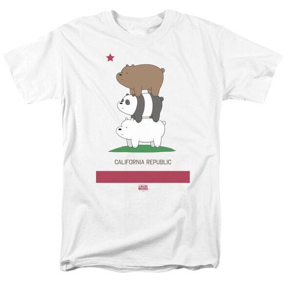 We Bare Bears Cali Stack Short Sleeve Adult White T-Shirt