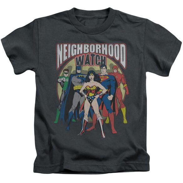 Jla Neighborhood Watch Short Sleeve Juvenile Charcoal Md T-Shirt