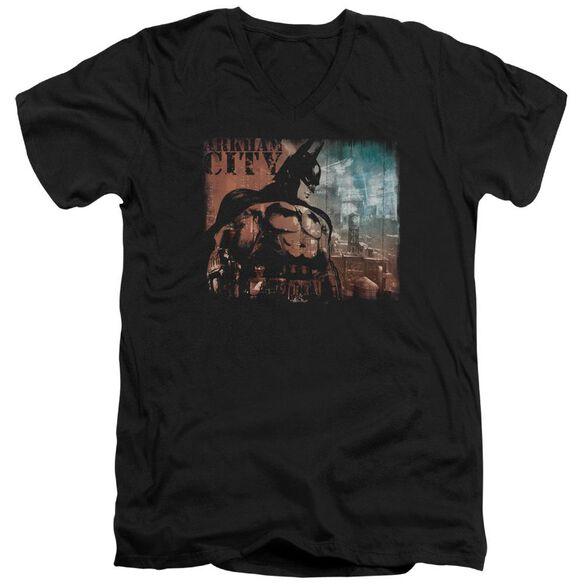 ARKHAM CITY CITY KNOCKOUT - S/S ADULT V-NECK - BLACK T-Shirt