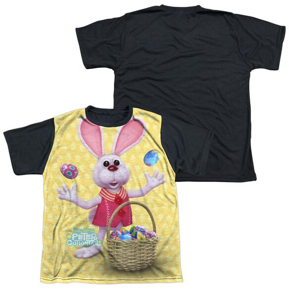 HERE COMES PETER COTTONTAIL BASKET OF EGGS-S/S YOUTH WHITE FRONT BLACK BACK T-Shirt