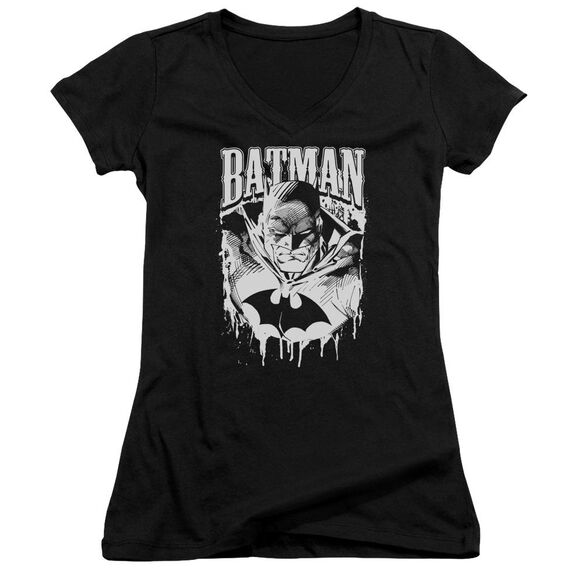 Batman Bat Metal Junior V Neck T-Shirt