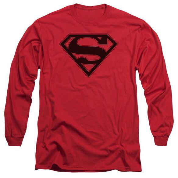 Superman & Black Shield Long Sleeve Adult T-Shirt