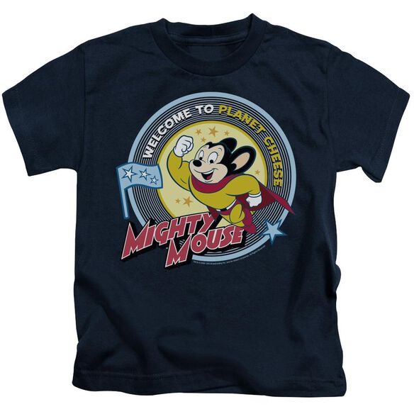 Mighty Mouse Planet Cheese Short Sleeve Juvenile Navy T-Shirt