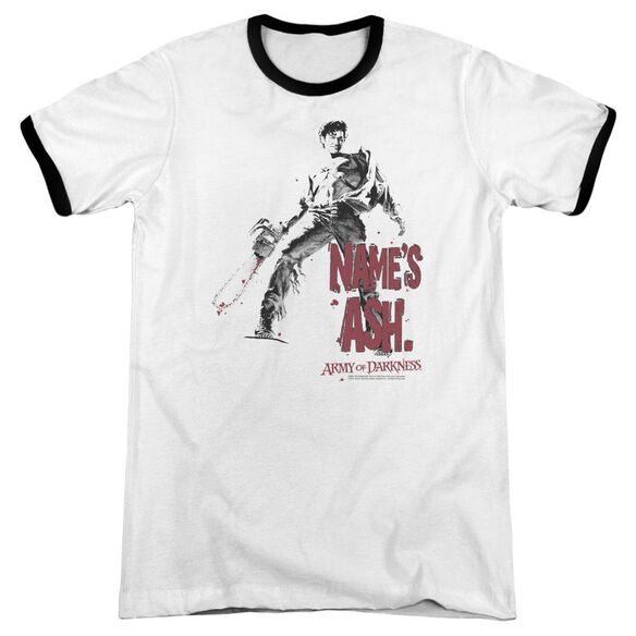 Army Of Darkness Names Ash Adult Ringer White Black