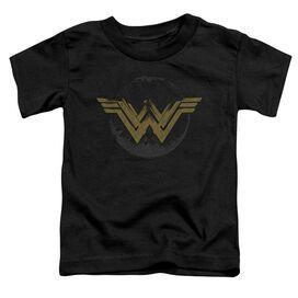 Wonder Woman Movie Distressed Logo Short Sleeve Toddler Tee Black T-Shirt