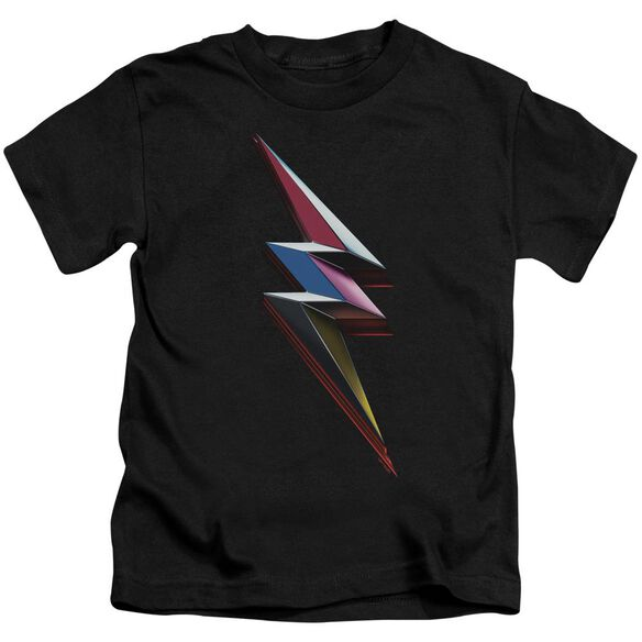 Power Rangers Movie Bolt Short Sleeve Juvenile Black T-Shirt