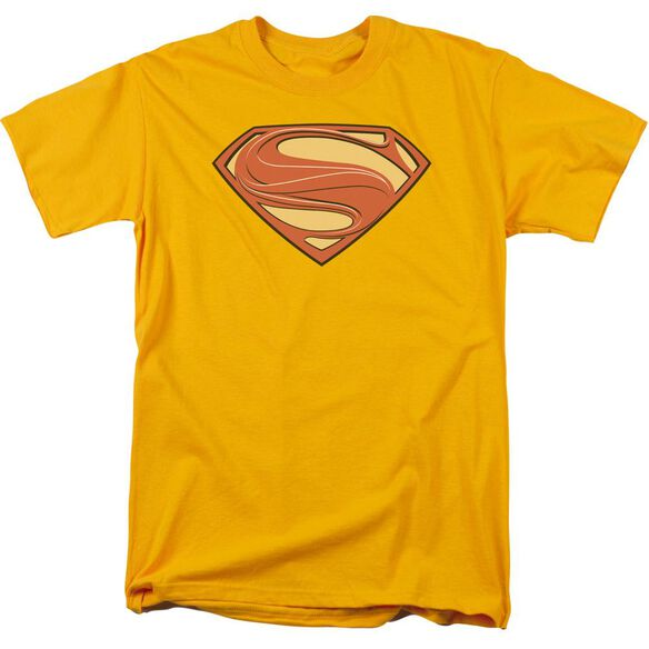 Man Of Steel New Solid Shield Short Sleeve Adult Gold T-Shirt