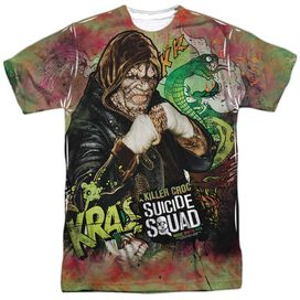 Suicide Squad Croc Psychedelic Cartoon Short Sleeve Adult Poly Crew T-Shirt