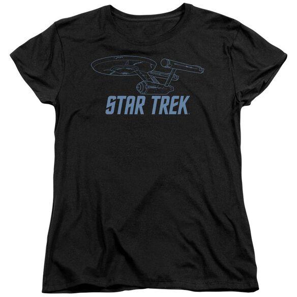 Star Trek Enterprise Outline Short Sleeve Womens Tee T-Shirt