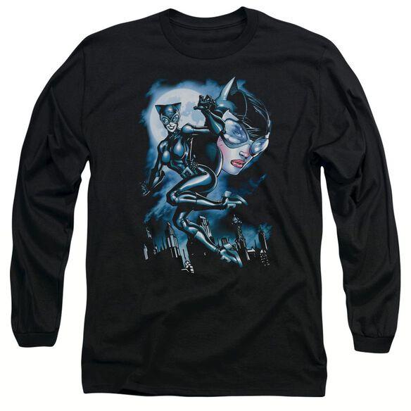BATMAN MOONLIGHT CAT - L/S ADULT 18/1 - BLACK T-Shirt