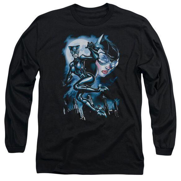 Batman Moonlight Cat Long Sleeve Adult T-Shirt