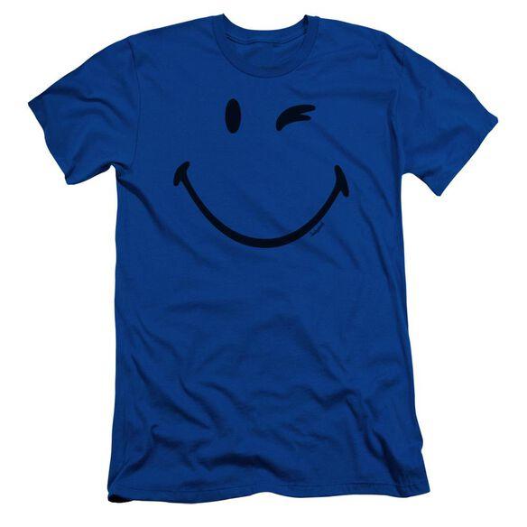 Smiley World Big Wink Short Sleeve Adult Royal T-Shirt