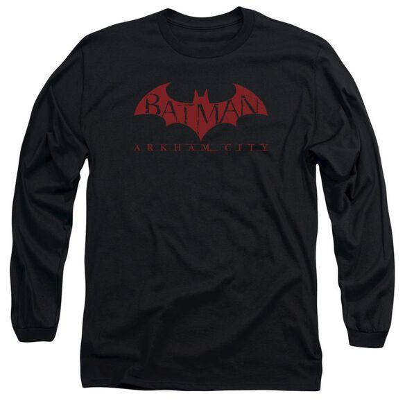 Arkham City Red Bat Long Sleeve Adult T-Shirt