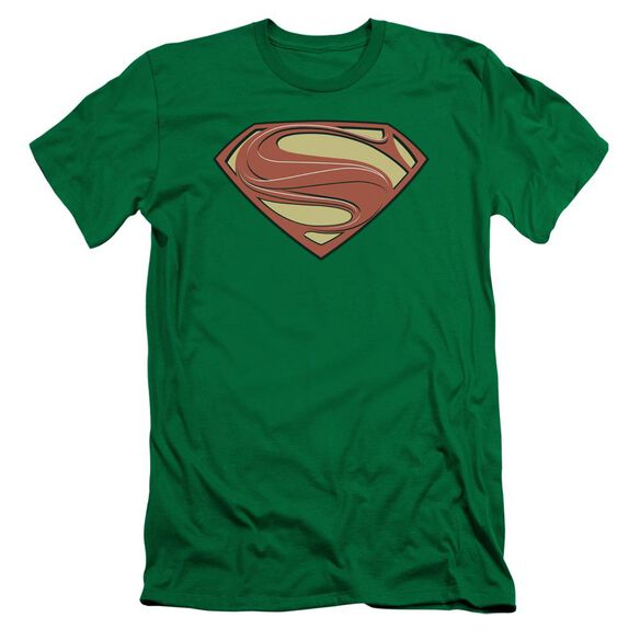 Man Of Steel New Solid Shield Short Sleeve Adult Kelly T-Shirt