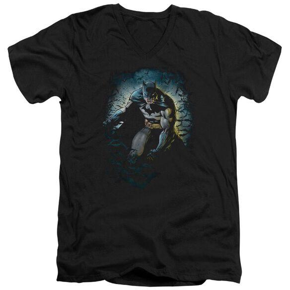 BATMAN BAT CAVE - S/S ADULT V-NECK - BLACK T-Shirt