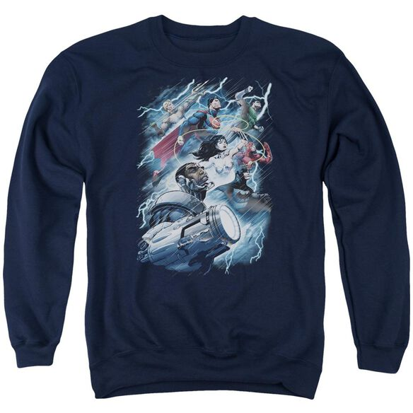 Jla Ride The Lightening Adult Crewneck Sweatshirt