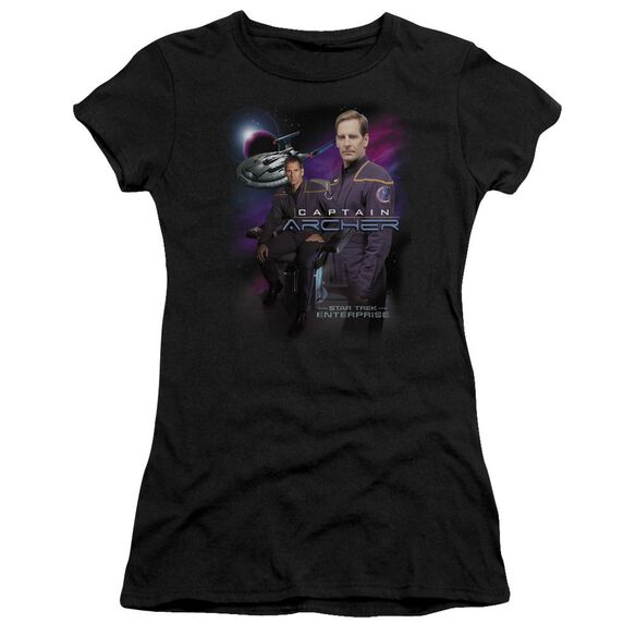 Star Trek Captain Archer Short Sleeve Junior Sheer T-Shirt