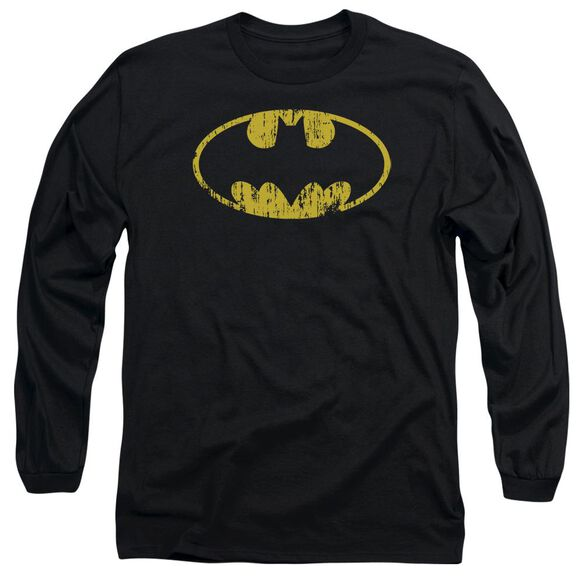 Batman Classic Logo Distressed Long Sleeve Adult T-Shirt