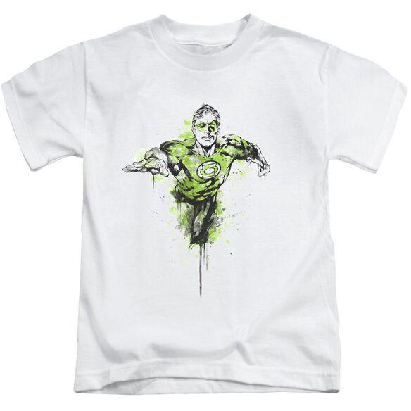 Green Lantern Inked Short Sleeve Juvenile White T-Shirt