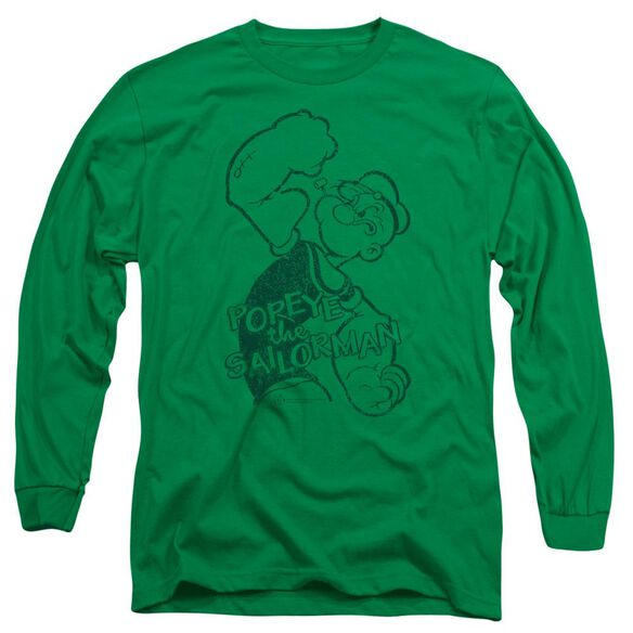 Popeye Spinach Strong Long Sleeve Adult Kelly T-Shirt
