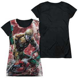 Jla Aquaman Vs Manta Short Sleeve Junior Poly Black Back T-Shirt