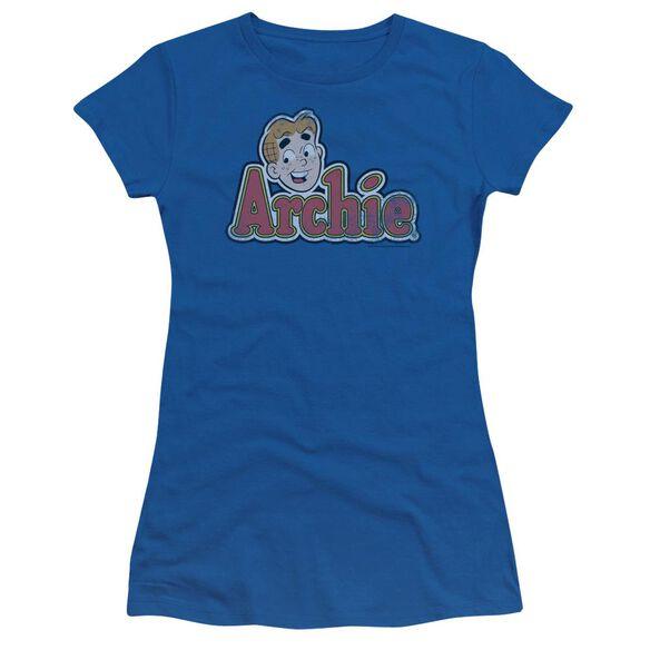 Archie Comics Distressed Archie Logo Short Sleeve Junior Sheer Royal T-Shirt