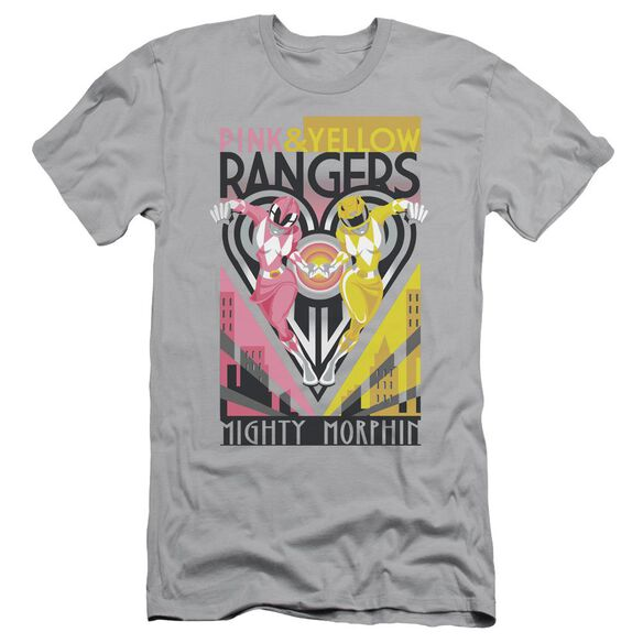 Power Rangers Pink & Yellow Deco Short Sleeve Adult T-Shirt