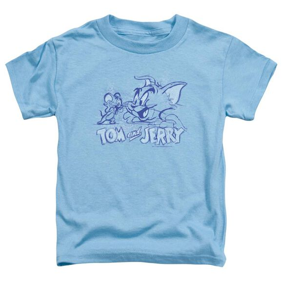 Tom And Jerry Sketchy Short Sleeve Toddler Tee Carolina Blue T-Shirt