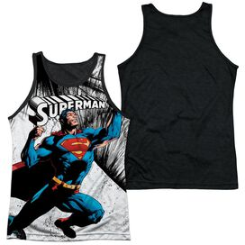 Superman To Infinity Adult Poly Tank Top Black Back