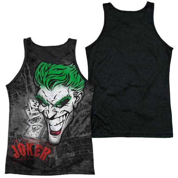 Batman Joker Sprays The City Adult Poly Tank Top Black Back