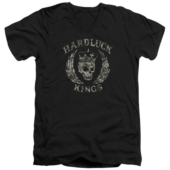Hardluck Kings Camo Logo Short Sleeve Adult V Neck T-Shirt