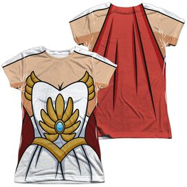 She Ra Costume (Front Back Print) Short Sleeve Junior Poly Crew T-Shirt
