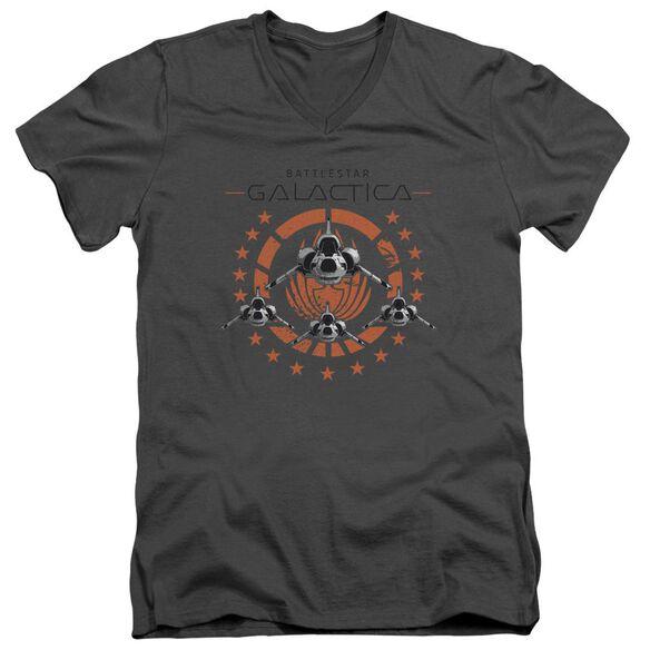 Bsg Squadron Short Sleeve Adult V Neck T-Shirt