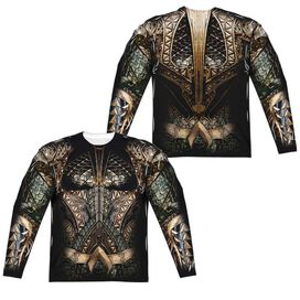 Justice League Movie Aquaman Uniform (Front Back Print) Long Sleeve Adult Poly Crew T-Shirt