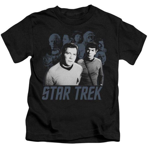 Star Trek Kirk Spock And Company Short Sleeve Juvenile Black Md T-Shirt