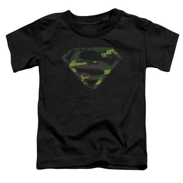Superman Distressed Camo Shield Short Sleeve Toddler Tee Black T-Shirt