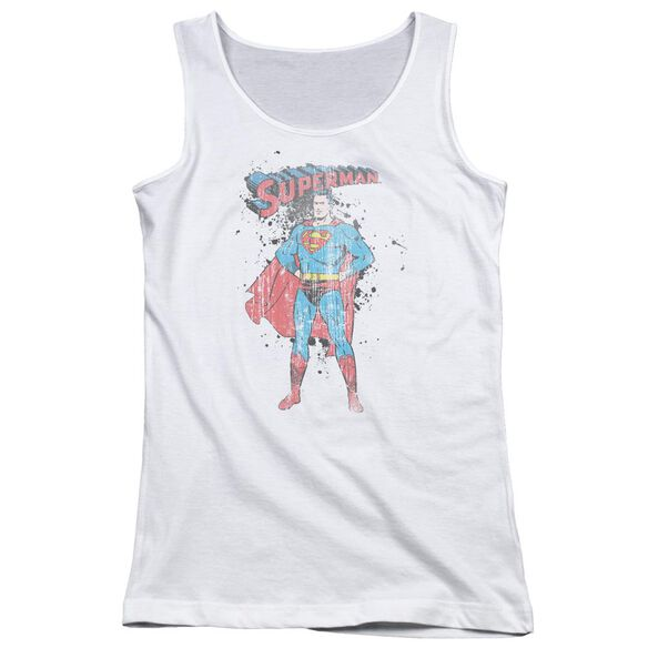 Superman Vintage Ink Splatter Juniors Tank Top