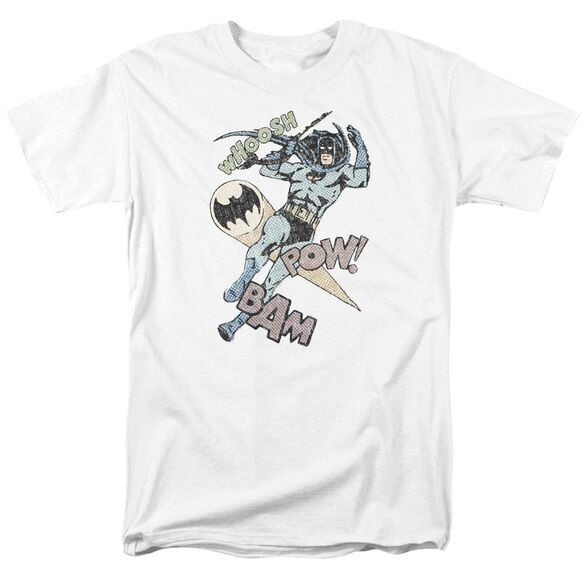 Batman Halftone Swing Short Sleeve Adult White T-Shirt