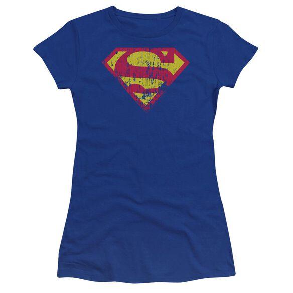 Superman Classic Logo Distressed Premium Bella Junior Sheer Jersey Royal