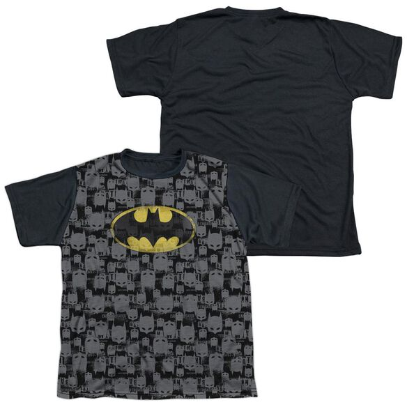 Batman Caped Crusader Repeat Short Sleeve Youth Front Black Back T-Shirt