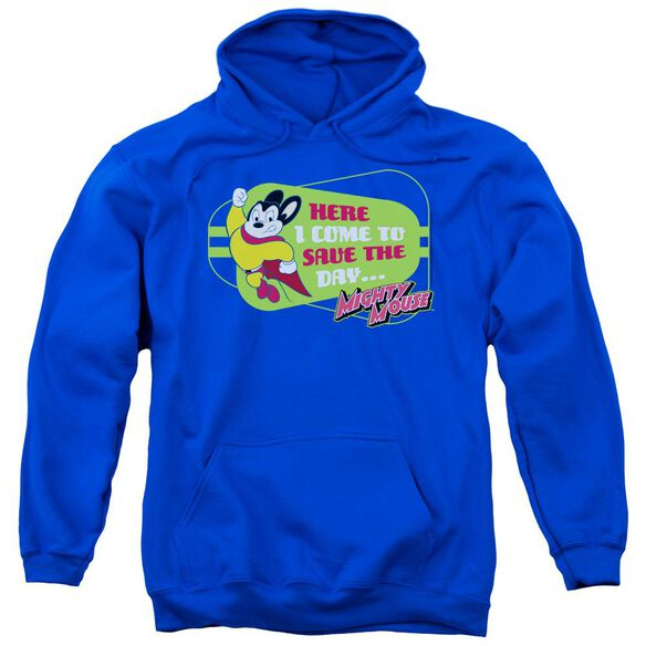 Mighty Mouse Here I Come Adult Pull Over Hoodie Royal