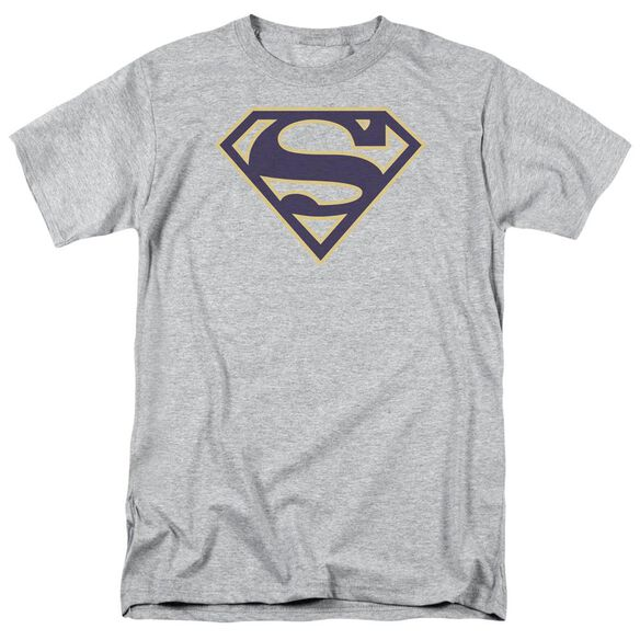 SUPERMAN NAVY & GOLD SHIELD - S/S ADULT 18/1 - ATHLETIC HEATHER T-Shirt