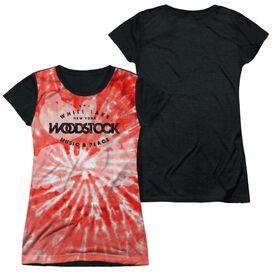 Woodstock Tie Dye Short Sleeve Junior Poly Black Back T-Shirt
