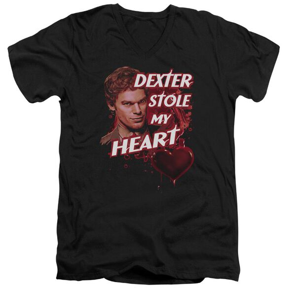 Dexter Bloody Heart Short Sleeve Adult V Neck T-Shirt