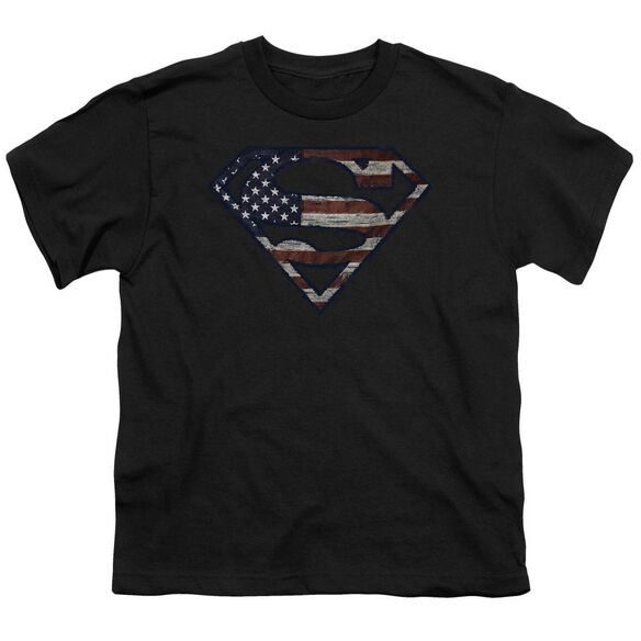 Superman Wartorn Flag Short Sleeve Youth T-Shirt