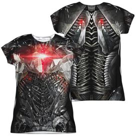 Justice League Movie Cyborg Uniform (Front Back Print) Short Sleeve Junior Poly Crew T-Shirt