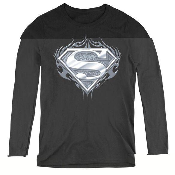 Superman Biker Metal - Womens Long Sleeve Tee - Black