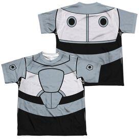 Teen Titans Go Cyborg Uniform (Front Back Print) Short Sleeve Youth Poly Crew T-Shirt